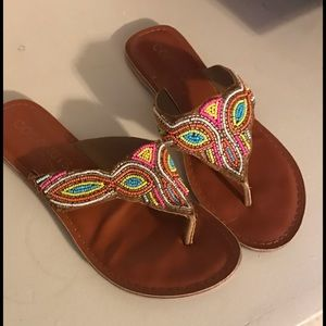 Coconuts by Matisse colorful beaded sandals Sz. 9